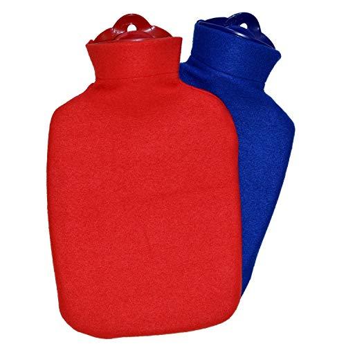 Hugo Frosch Wärmflaschen-Set Klassik 1,8 L mit Fleecebezug rot + blau