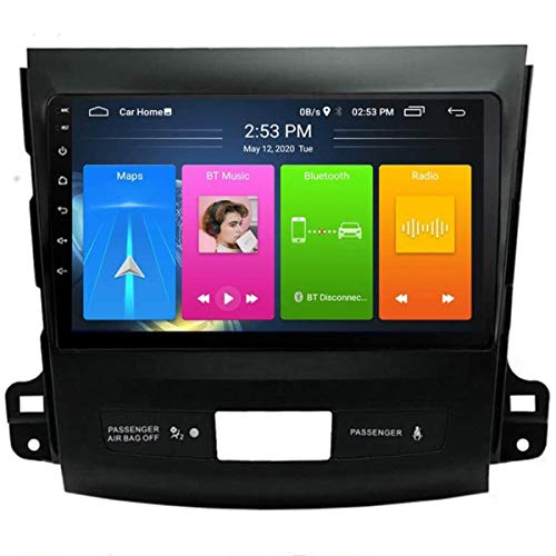 XBRMMM Android 9.1 Radio para Automóvil para Mitsubishi Outlander 2006-2012 Navegación GPS Estéreo Pantalla Táctil 9' Soporte Pantalla Espejo BT Control Volante/FM RDS DSP
