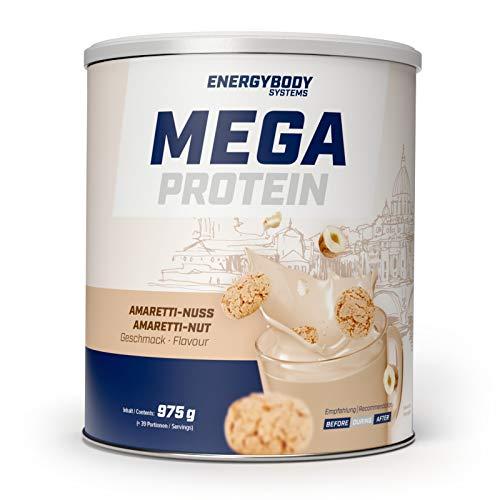 Energybody Mega Protein Amaretti-Nuss Mehrkomponenten Eiweiß Pulver Whey Casein Shake ohne Zuckerzusatz aspartamfrei, limitierter Sondergeschmack, 975 g Dose, 39 Portionen