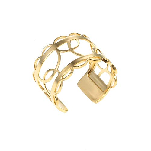 Gold Adjustable Rings For Women Fashion Jewelry Stainless Steel Rings Interchangeable Leather