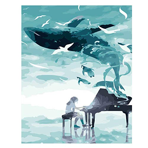 VFDGB Ween Angel Schilderij Van Nummers Abstract Zeemeermin Olieverfschilderij Girl Piano Type Home Decor