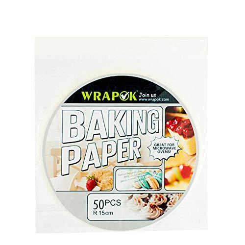 Wrapok 6 pulgadas de pergamino redondo Perforated Bamboo Steamer Liners de papel 50 Count Non-stick para la freidora de aire Hornear la cesta de cocción Cake Cake Cans