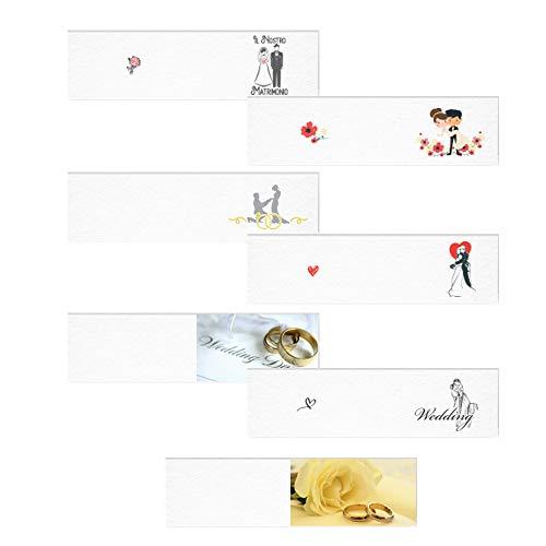 Bigliettini Matrimonio personalizzati con Nome e Data - in set da 20, 50, 100, pezzi - Kamiustore (100 bigliettini)