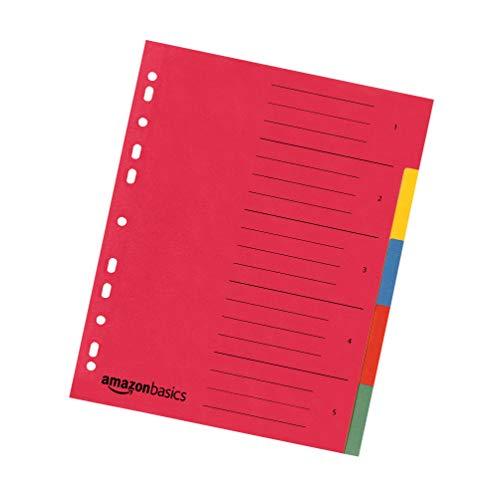 AmazonBasics - Divisori in carta manilla riciclata, perforatura di standard europeo, extra larghi, 12 divisori in 6 colori diversi, 24 x 29,7 cm, A4, 230 g/m2, confezione da 40