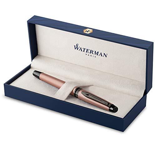 Pluma estilográfica Waterman Expert | Lacado en oro rosa metalizado con detalles en rutenio | Plumín fino de acero inoxidable revestido de PVD | Tinta azul | Con caja de regalo