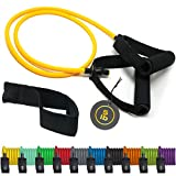 TRIBE Single Resistance Bands Set, Workout Bands I Weights for Exercises with Toning Tubes, Handles, Door Anchor & eBook for Resistance Training, Physical Therapy, Home Workouts I Single Fitness Bands
