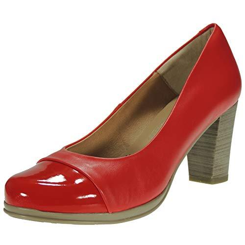Desiree 1148N Zapato Salón Mujer Piel Piso Goma Flexible Antideslizante Punta Charol...