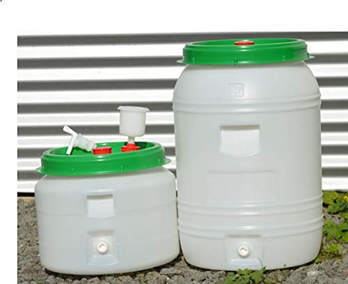 STO Gärfass mit Schraubdeckeln. Mostfass, Maischefass, Lagerfass, Lebensmittelfass, Getränkefass Camingfass (60 Liter)