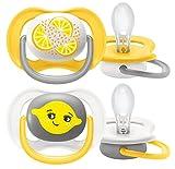 Philips Avent SCF080/18, Paquete de 2 Chupetes Ultra Air, 6-18 meses, pezón suave - Patrones de limón y naranja