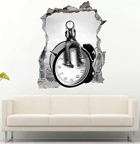 Pegatinas de pared 3D tatuajes 60x90cm Hombre sentado en el reloj despertador 3D etiqueta de la pared vinilo adhesivo mural arte de la pared decoración Etiqueta de la pared