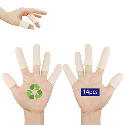 Finger Cots, Gel Finger Protectors, (14PCS) Finger Bandage, Finger Tips Great for Finger Cracking, Finger Trigger, Finger Arthritis, Latex-Free, Reusable.