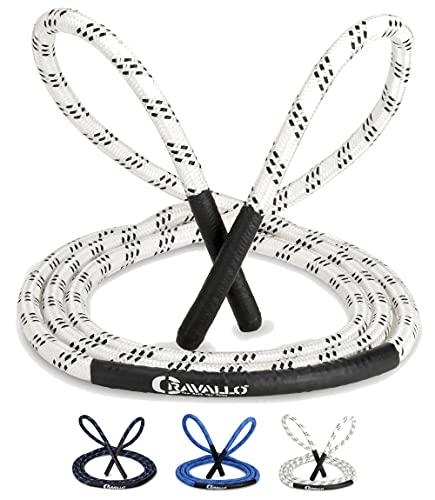 Cravallo® Corda per saltare I 3 metri Fatburner Speed Rope I Adulti Professionali Skipping Corda I Ideale per Boxe, Resistenza Sport, MMA, HIIT (Bianco, Heavy Rope con diametro di 14 mm)