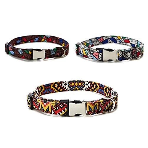 Bebliss Colorida correa de cuello ajustable para mascotas, con anillo de correa para perros, con hebilla de metal para cinturón de seguridad, evita que las mascotas escapen.