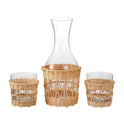 EVEREST GLOBAL Bedside Glass Carafe Set with 2 Tumblers(12.8 oz) and 1 Pitcher(48.3 oz) with Traditional Hand Woven Rattan Water Drinkware and Cup Night Stand