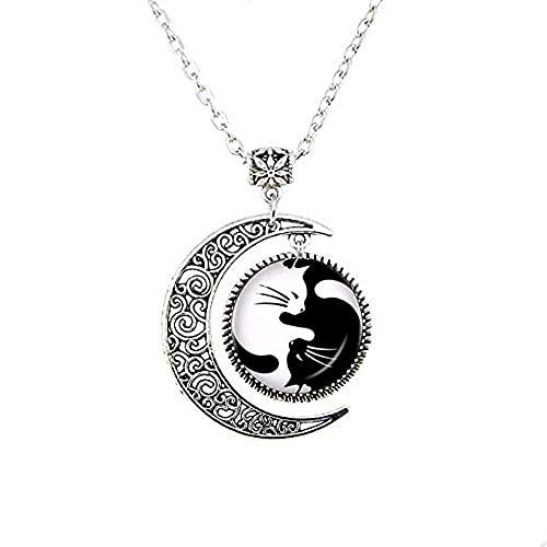 Yin Yang Gargantilla de la luna Collar dos Ying Yang Gatos Colgante Gatito Joyería Chino Ocho Diagramas Sin Cuello