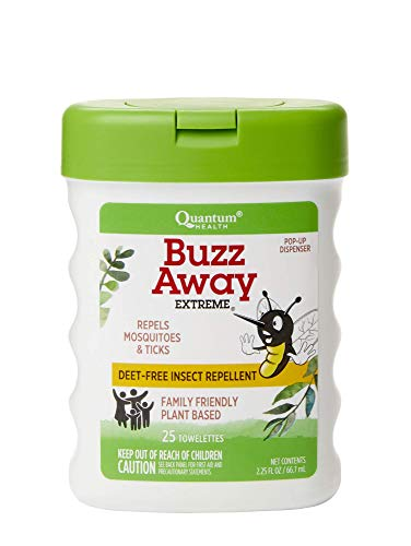 Quantum Health Buzz Away Extreme Towelettes - DEET-free Insect Repellent Wipes, Essential Oils - Pop Up Dispenser, Small Children and Up, 25 Count