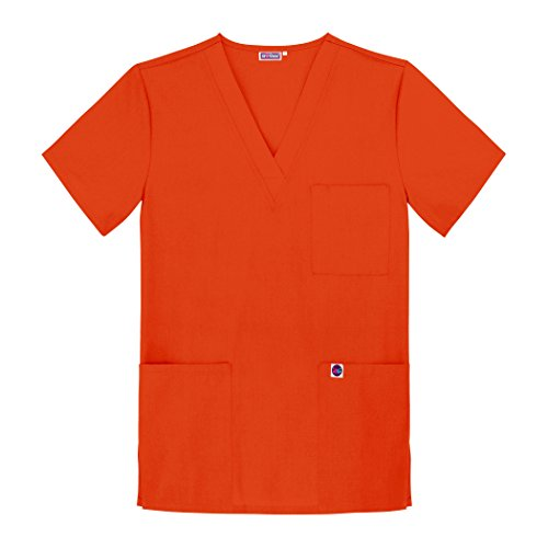 Sivvan Unisex V-Neck 3 Pocket Scrub Top - S8304 - Mandarin Orange - XL
