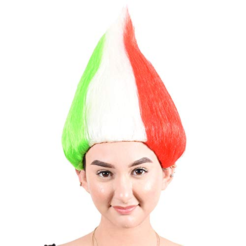 CeCe Italy Flag Troll Wig Colorful Hairpiece for Halloween Sport Football Fan Costumes Party