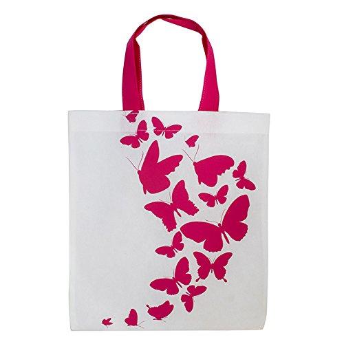 1x Einkaufstasche Motiv Schmetterling | 28 x 32 cm | Polypropylen | PP-Non-Woven-Tasche | Vliestasche | Stofftasche | Tragetaschen | Tüten | Verpackung