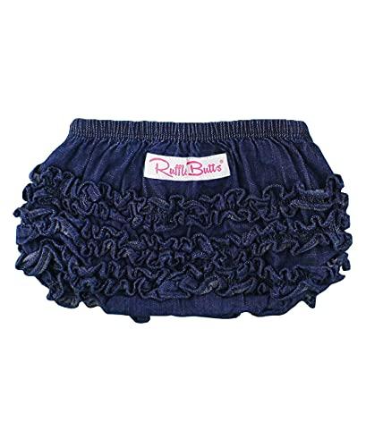 RuffleButts Baby/Toddler Girls Denim Jean Ruffled Diaper Cover - 2T