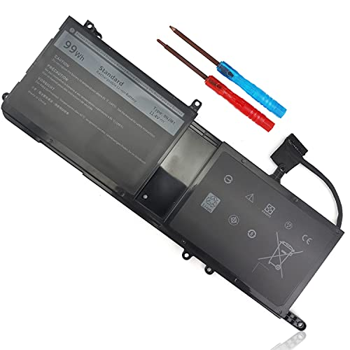 Type 9NJM1 44T2R MG2YH Laptop Battery Replacement for Dell Alienware 17 R4 R5 15 R3 R4 P31E P69F P31E001 P31E002 P69F001 P69F002 HF25D 01D82 546FF 0546FF HF250 0HF250 0MG2YH 99Wh 11.4V 6 Cell
