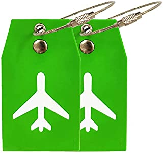 Travel Luggage Tags (2 Pack) - Green rubber labels for suitcase, steel locking loops and name labels included