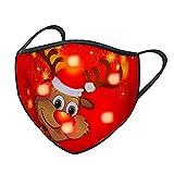 Pany 1 Stücke Erwachsene Mundschutz Weihnachten Halstuch LED Licht 3D Druck Bandana Atmungsaktiv Mund und Nasenschutz für Männer und Frauen