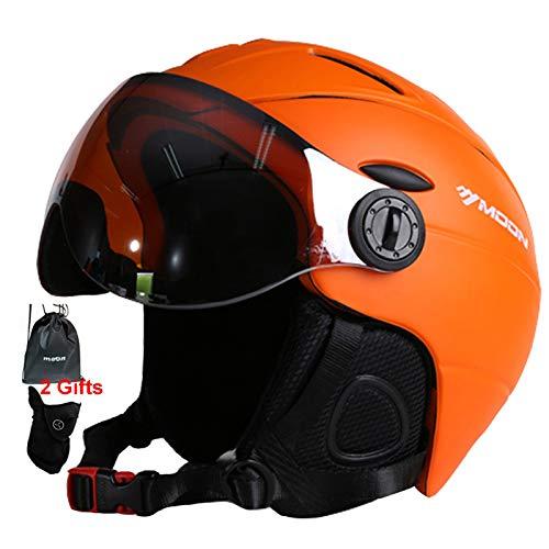 MOON Snow Ski Helmet with Detachable Glasses – 2 in 1 Integrally-Molded Snow Helmet for Adult, Sports Helmet Protective Glasses - Windproof Protective Gear for Skiing, Skateboard, Snowboarding Helmet