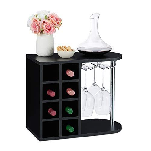Relaxdays Botellero para 8 Botellas de Vino, Soporte Copas de Cristal, Tablero Aglomerado, 1 Ud, 42x52x28 cm, Negro