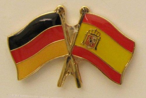 Spanien / Deutschland Fre&schafts Pin Anstecker Flagge Fahne Nationalflagge Doppelpin Flaggenpin Badge Button Flaggen Clip Anstecknadel