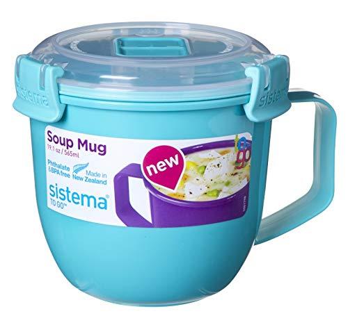 Sistema 6 Stück Mikrowelle Klein Suppe-Becher, 565ml, BPA Free - Gemischte Farben