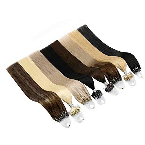 100 Strands Micro Loop Hair Straight Human Hair Extensions Easy Loop Invisible Hair Micro Ring Link Hair Extensions 16'' 100g 1 Jet Black