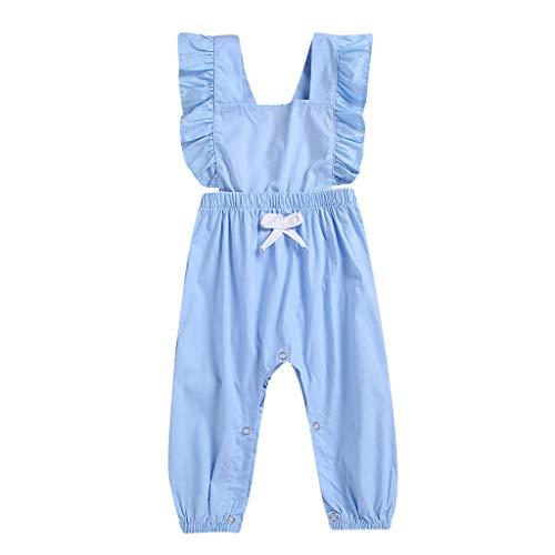 Voberry- (3M-24M) Pantalon bébé,Combinaison sans Manches à Volants Dos Nu de Couleur Unie