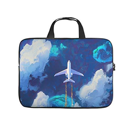 Bolsa para portátil impermeable con diseño de avión pintado y vuela a través del aire