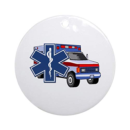 EMS Ambulance Christmas Hanging Ornament (Round) Made in USA