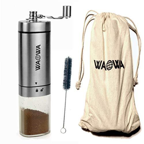 WAOWA Macinacaffè manuale in acciaio inox con macinino conico in ceramica per caffè, caffè filtro, portafiltro