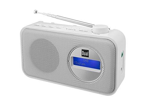 Dual DAB 84 Portables Digitalradio (DAB(+)/UKW-Radio, Senderspeicherfunktion, LCD-Bildschirm, Kopfhöreranschluss) Weiß