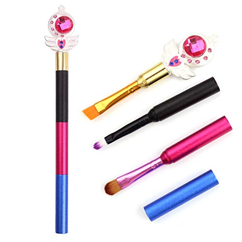 HZD New Personalized Custom Makeup Brushes Three in One Cosmetic Eyeshadow Eyebrow Eyeliner Brush Multiple Color Stitching,Sailor Moon