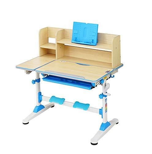 HS-Lighting Kinderschreibtisch, höhenverstellbar, neigbar Schreibtisch für Schüler mit Bücherregal und Schublade, B/T/H: 95,9 x 53 x 84-109 cm (Blau)