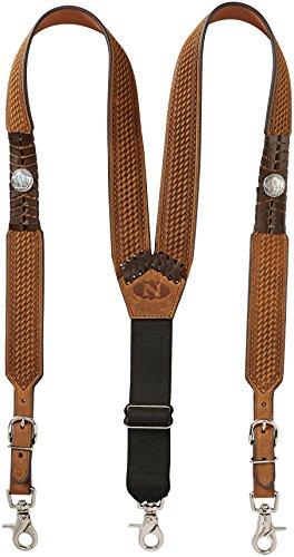 Nocona Belt Co. Men's Buffalo Nickel Basket Leather Suspender, brown, Large