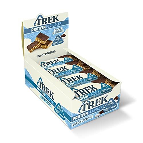 TREK High Protein Flapjack Cocoa Coconut, 50 g - Gluten Free Bars - Healthy Snack Bars - Plant Based Protein - Vegan Bars (Pack of 16 Bars)