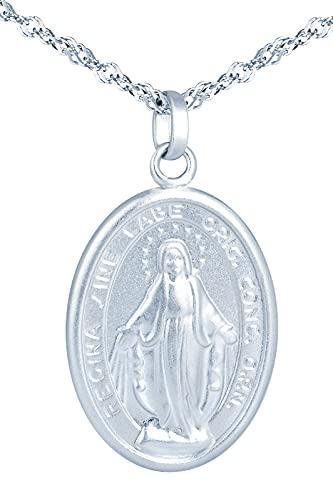 MicVivien Collar Medalla Virgen Milagrosa para Mujer Plata de Ley 925 Colgante Monedas para Madre Mamá Abuela Hija Niña Esposa Novia