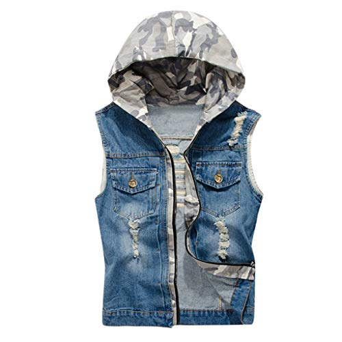 routinfly - Camiseta sin mangas casual para hombre con chaleco vaquero sin mangas con capucha, camiseta ligera de color M-4XL turquesa 3XL