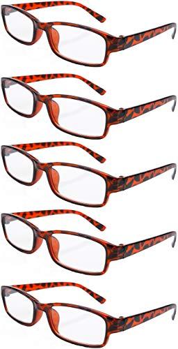 4sold Slim The Reading Glasses Company, licht en comfortabel, set van 5 designer-style Womens Mens met tas en etui +2.00 Diottrie Panther