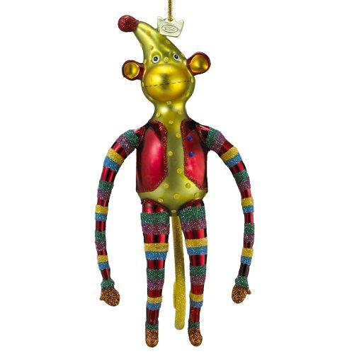 Noble Gems Kurt Adler Glass Monkey Ornament, 6.5-Inch