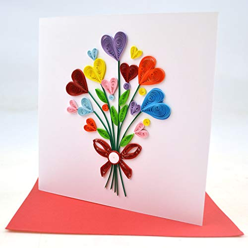 Star Brand Quilling Greeting Card Handmade For All Occasions Birthday Love Anniversary Good Bye Thank You Mother Day Valentine With Envelope Suitable For Framing 6 X6 Heart Balloon Buy Online In Martinique At