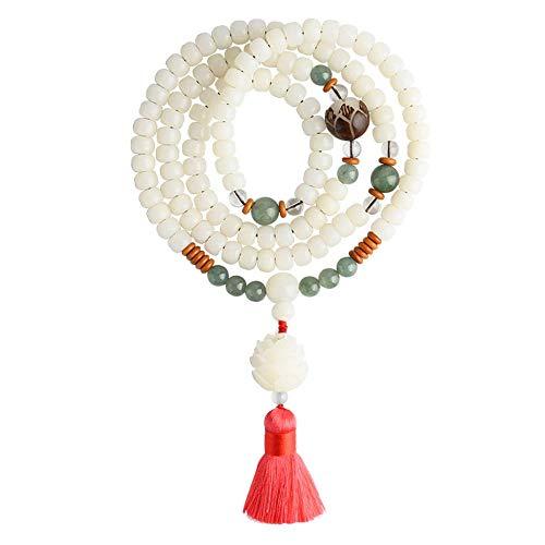 N/A Bracelet Natural Bodhi Root Bracelet White Jade Bodhi 108 Rosary Rosary Lotus Bracelet Ethnic Style Necklace