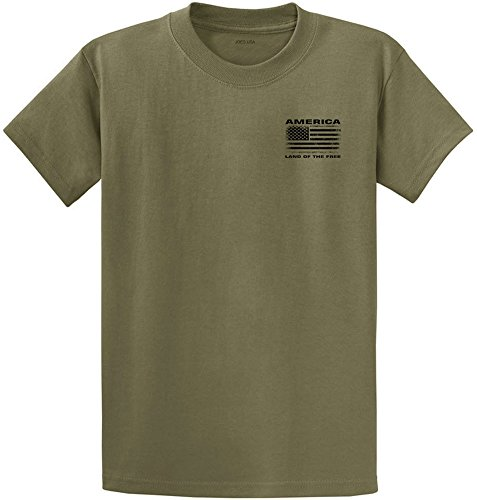 Joe's USA Vintage America Land of The Free Flag T-Shirt-Olive/b-6XL