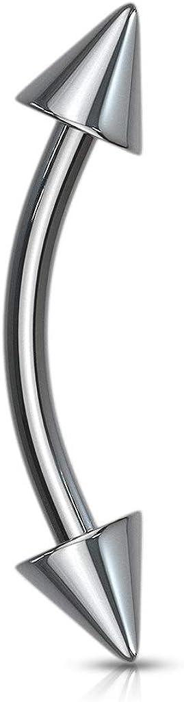 Grade 23 Solid Titanium Spiked Eyebrow Piercing Curve Ring - 16GA