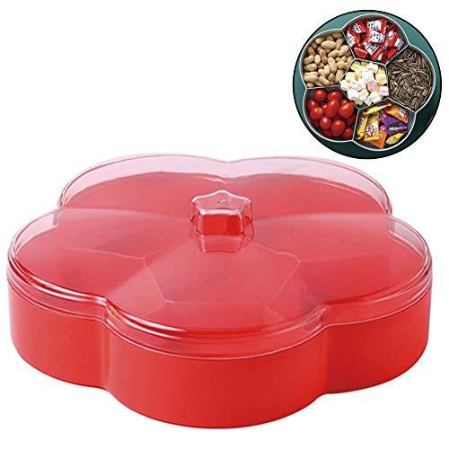 En Forma De Flor Transparente Plato De La Caja del Caramelo Snacks Bandeja De Rejilla Creativas Seis Compartimentos Secos Plato De Fruta